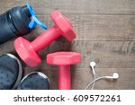 flat lay of fitness and workout ... | Shutterstock . vector #609572261