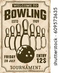 bowling tournament poster in... | Shutterstock .eps vector #609573635