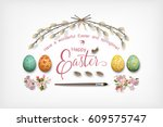 easter top view background with ... | Shutterstock .eps vector #609575747