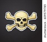 vector illustration. skull... | Shutterstock .eps vector #609579785