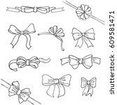 set of sketch doodle bows.... | Shutterstock .eps vector #609581471