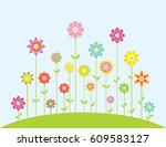 spring colorful flowers growing ... | Shutterstock .eps vector #609583127