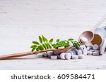 medicine herb. herbal pills... | Shutterstock . vector #609584471