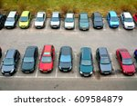 yard with many colored parking... | Shutterstock . vector #609584879