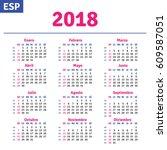 spanish calendar 2018 ... | Shutterstock .eps vector #609587051