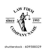 law firm logo with femida.... | Shutterstock .eps vector #609588329