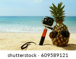 different objects on the beach. ... | Shutterstock . vector #609589121