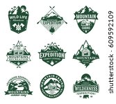 set of vector mountain and... | Shutterstock .eps vector #609592109