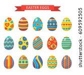 easter eggs for easter holidays ... | Shutterstock .eps vector #609592505