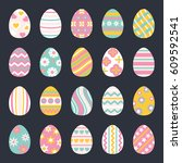 easter eggs for easter holidays ... | Shutterstock .eps vector #609592541
