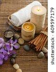 spa set on mat with palm  salt... | Shutterstock . vector #609597179