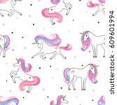 seamless beautiful unicorns... | Shutterstock .eps vector #609601994