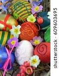 decorative easter eggs in nest... | Shutterstock . vector #609603695