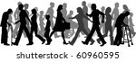 silhouettes of lots of people... | Shutterstock .eps vector #60960595