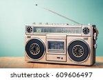 retro radio recorder from 80s... | Shutterstock . vector #609606497