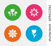flowers icons. bouquet of roses ... | Shutterstock .eps vector #609611561