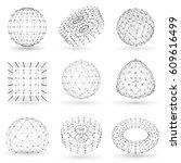 set of wireframe polygonal... | Shutterstock .eps vector #609616499