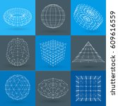 set of wireframe polygonal... | Shutterstock .eps vector #609616559