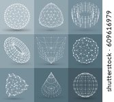 set of wireframe polygonal... | Shutterstock .eps vector #609616979