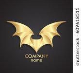 3d golden modern shape wings... | Shutterstock .eps vector #609618515