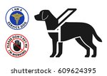 guide dog symbol with two round ... | Shutterstock .eps vector #609624395