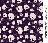 skulls   black and white... | Shutterstock .eps vector #609624911