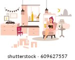 young mom reads a daughter's...   Shutterstock .eps vector #609627557