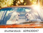 loving couple in their red... | Shutterstock . vector #609630047