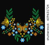 embroidery fashion peacock... | Shutterstock .eps vector #609631724