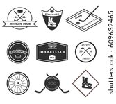 hockey logo set of 9 monochrome ... | Shutterstock . vector #609632465