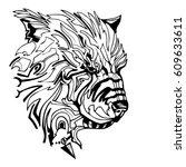 spirit beast   bear   abstract... | Shutterstock .eps vector #609633611