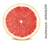 half of grapefruit isolated on... | Shutterstock . vector #609636209