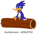 Cheerful Bird Sitting On A Log