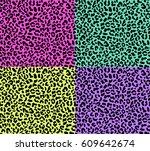 set of four seamless leopard... | Shutterstock .eps vector #609642674