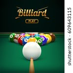 billiard table front view balls ... | Shutterstock .eps vector #609643115