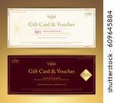 elegant gift voucher or gift... | Shutterstock .eps vector #609645884