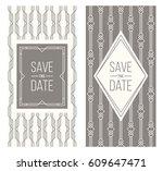 two retro wedding invitation... | Shutterstock .eps vector #609647471