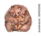 Stock photo mama bear and baby bear watercolor illustration handmade drawing 609650381