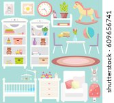 baby room furniture icon set.... | Shutterstock .eps vector #609656741