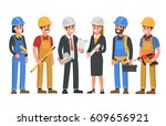 construction workers team.... | Shutterstock .eps vector #609656921