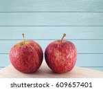 Close Up Two Red Apples With...