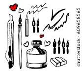 paint  brush  stroke  vector ... | Shutterstock .eps vector #609658565