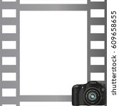gray photo frame with a camera... | Shutterstock .eps vector #609658655