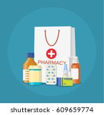 paper packet with medicine... | Shutterstock . vector #609659774