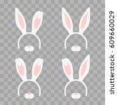 Stock vector set of easter mask with rabbit ears isolated on transparent checkered illustration cartoon cute 609660029