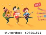 friends with packages of beer... | Shutterstock .eps vector #609661511