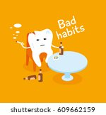 bad habits. tooth with a... | Shutterstock .eps vector #609662159