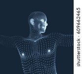 3d model of man. human body.... | Shutterstock .eps vector #609662465