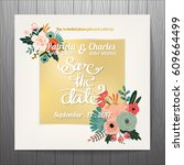 wedding invitation card... | Shutterstock .eps vector #609664499