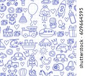vector doodle set with toys for ... | Shutterstock .eps vector #609664595